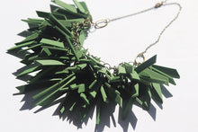Dark Green V Shaped Statement Light Weight Necklace