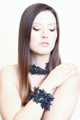 Black Triangles Necklace (with 2 bracelets to match)