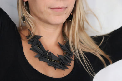 Black Triangles Necklace Light Weight