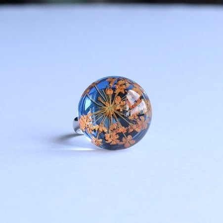 Dried Flower Ring Orange Blue