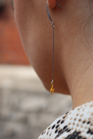 Gold Lighting Bolt Earrings