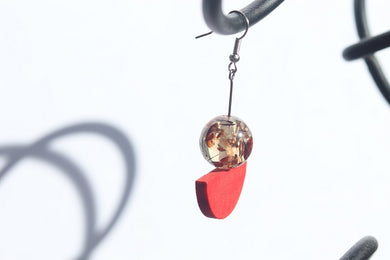 Drop Earrings Brown Resin and Red Wood