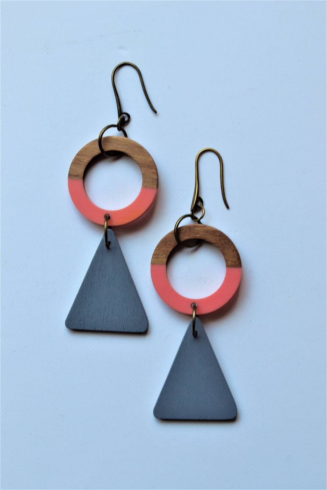 Pink & Grey Drop Earrings