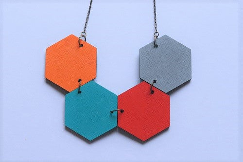 Big Hexagon Statement Necklace Multicolored (Reversible)