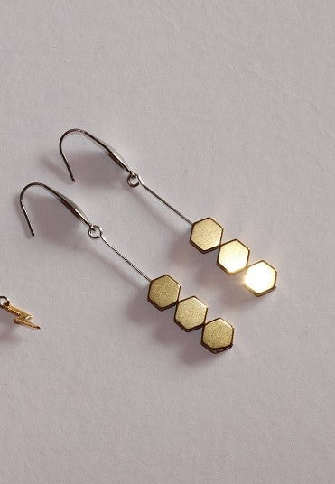 Three Golden Hexagon Earrings