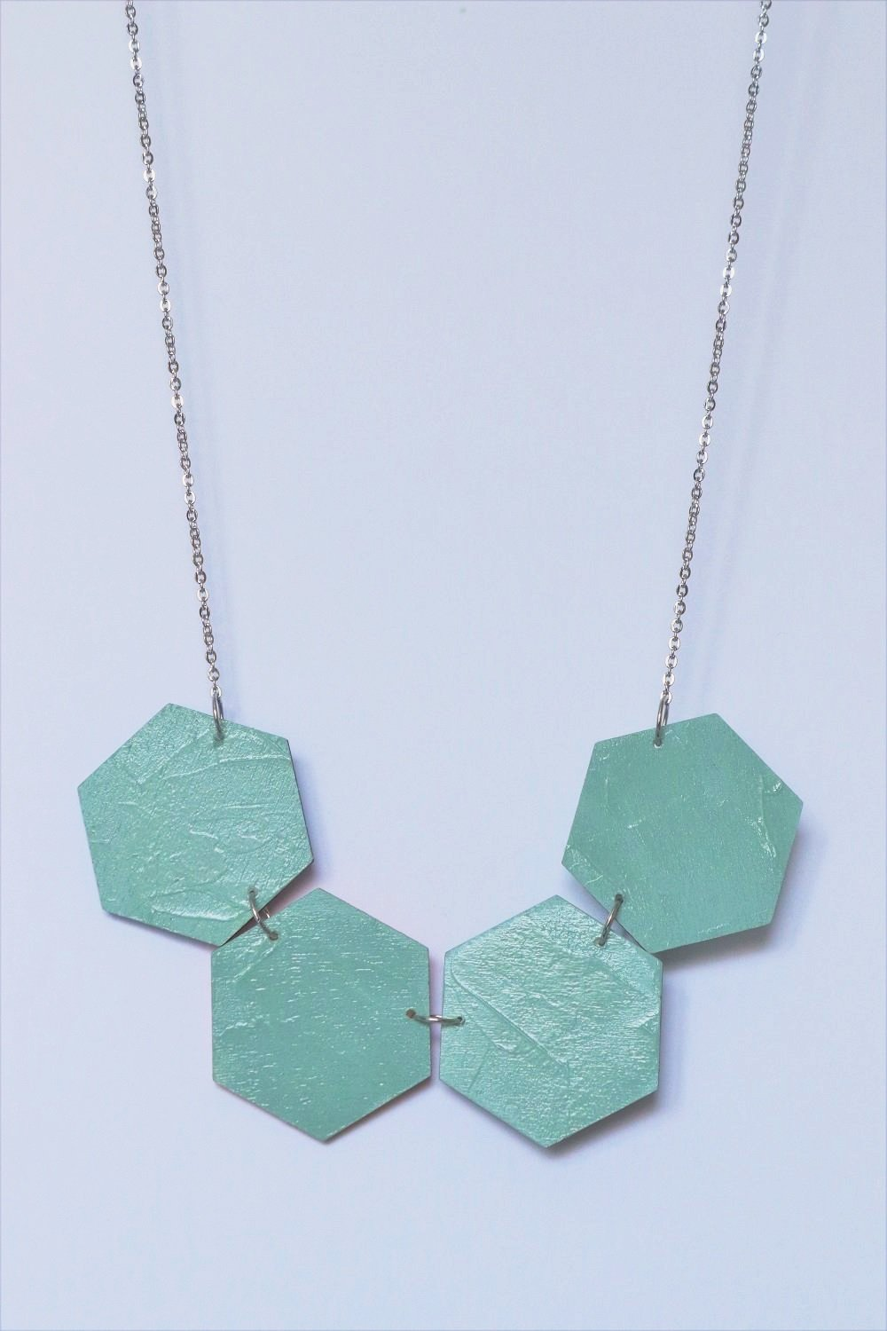 Big Hexagons Statement Necklace Textured (Reversible)