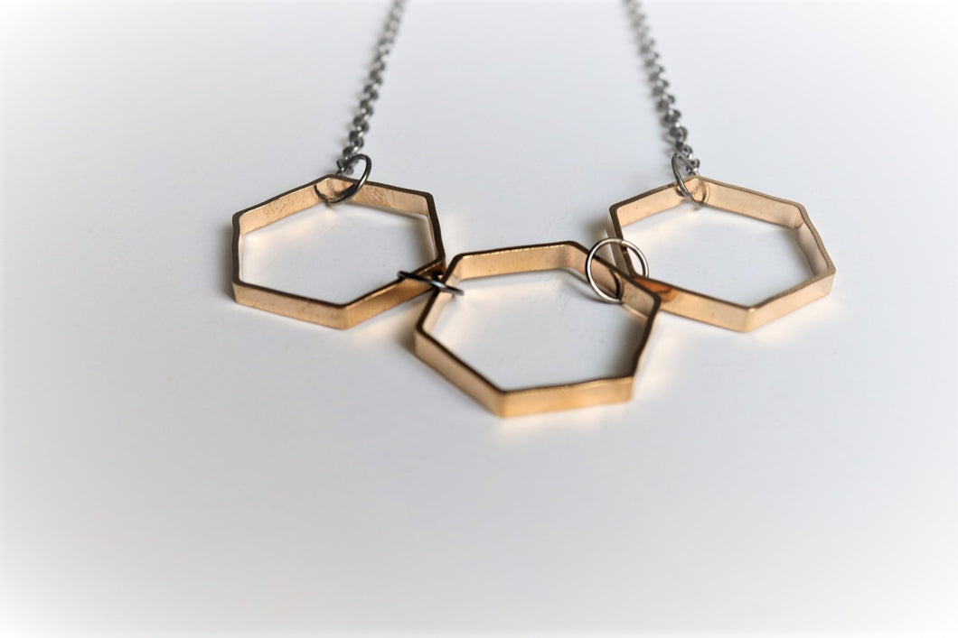 Three Golden Hexagon Necklace