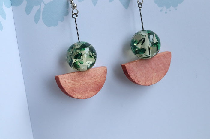 Drop Earrings Wood and Green Resin