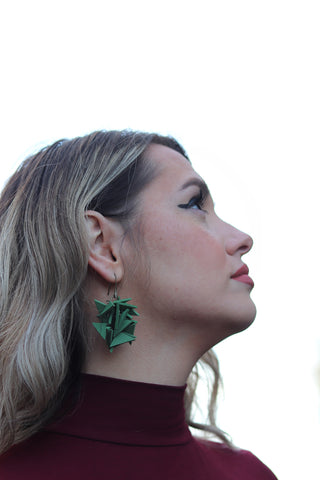 Green Medium Extremely Light Earrings