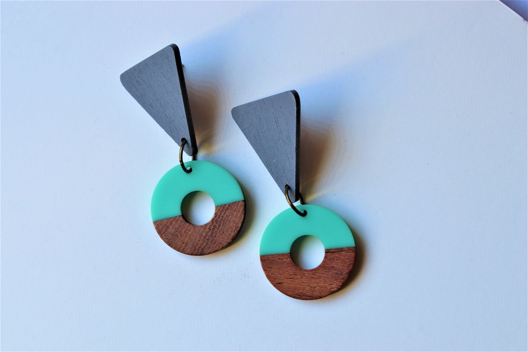 Mint & Grey Dangle Earrings
