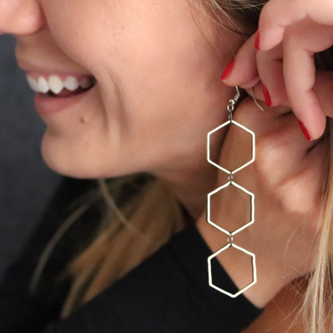 Hexagon Geometric Long Earrings