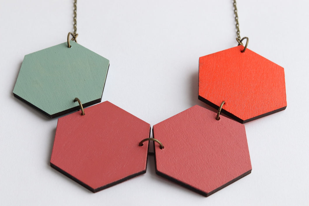 Rust Dust Wood Hexagon Statement Necklaces