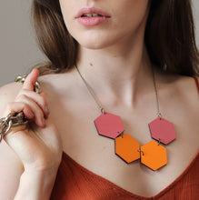 Rose Dust Orange Shades Wood Hexagon Necklaces