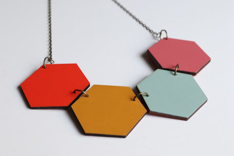 Hot and Cold Wood Hexagon Necklaces (Reversible)