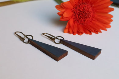 Grey Triangle Wood Earrings