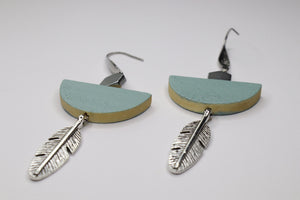 Sage & Feather Drop Earrings