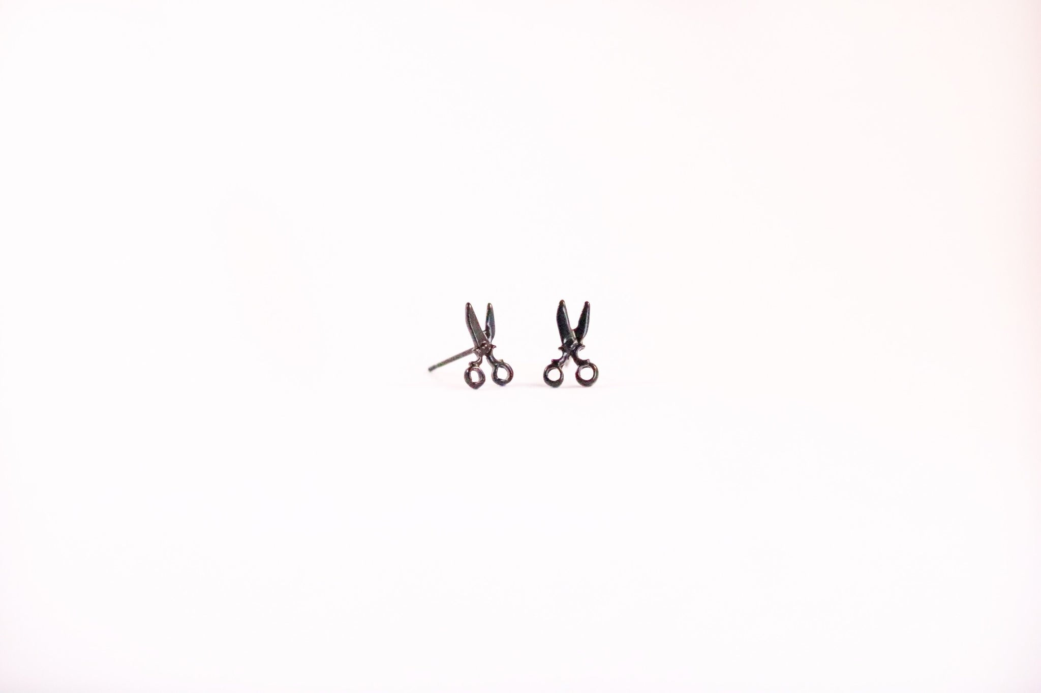 Small Black Earrings Scissors, Musical Note, Fish