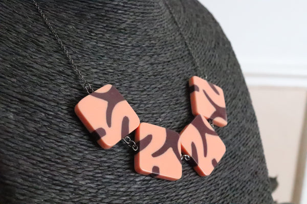 Purple Pink Print Necklace
