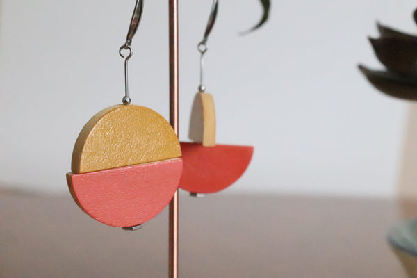 Double Juxtaposed Drop Earrings (Dusty Rose)