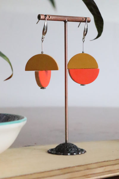 Double Juxtaposed Drop Earrings (Mustard)