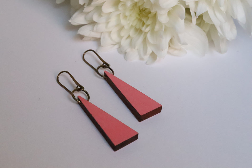 Pink Triangle Wood Earrings
