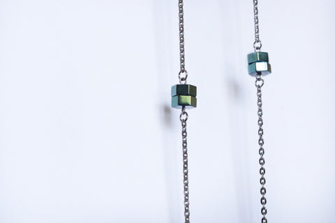 Long Necklace Hematite Green Metallic