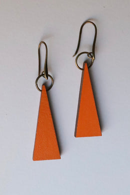 Pumpkin Triangle Wood Earrings