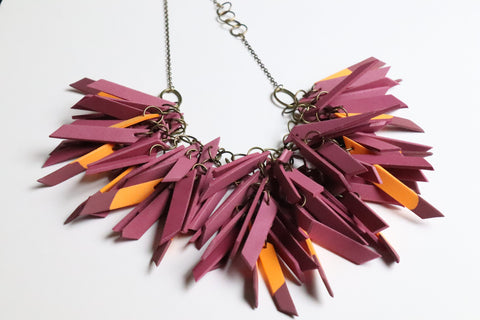 Plum Dipped V Shaped Statement Light Weight Necklace