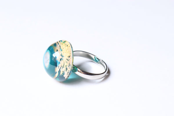 Dried Flower Ring Double over Blue