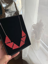 Painted Red wooden necklace