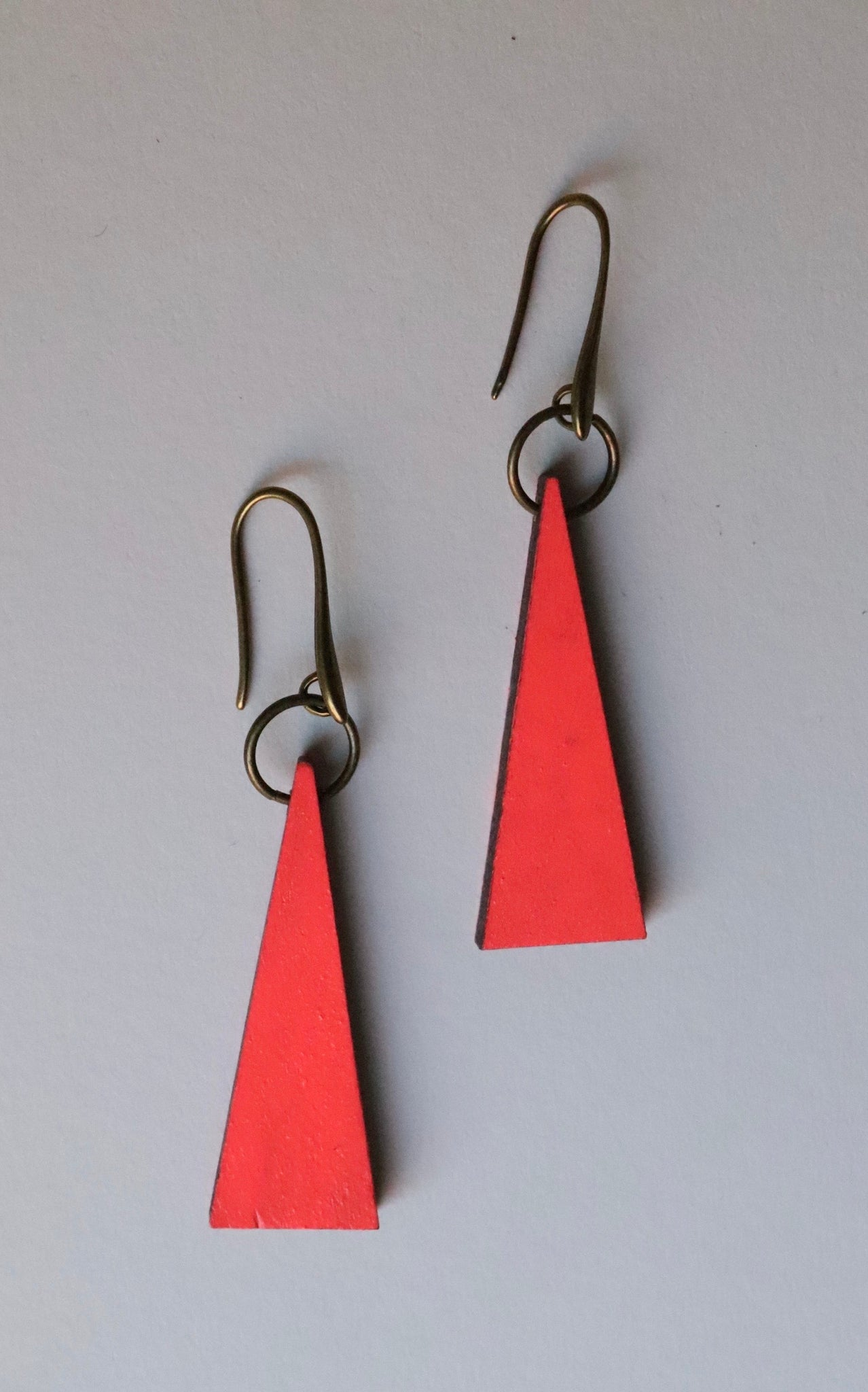Neon Pink Triangle Wood Earrings