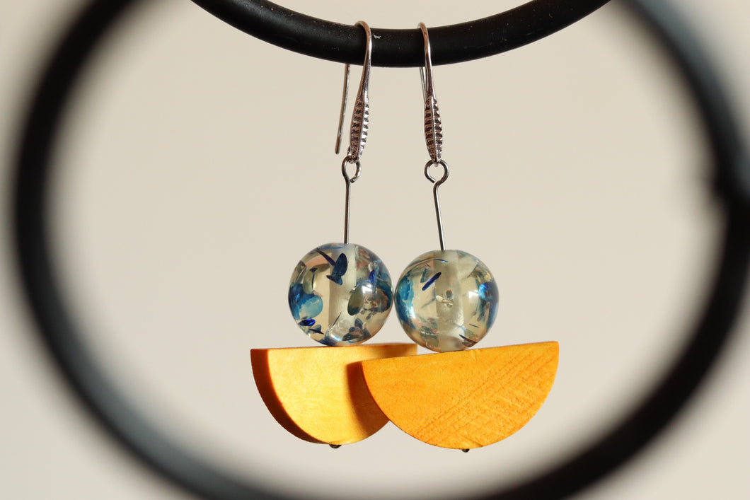 Drop Earrings Wood and Resin (Blue & Yellow)