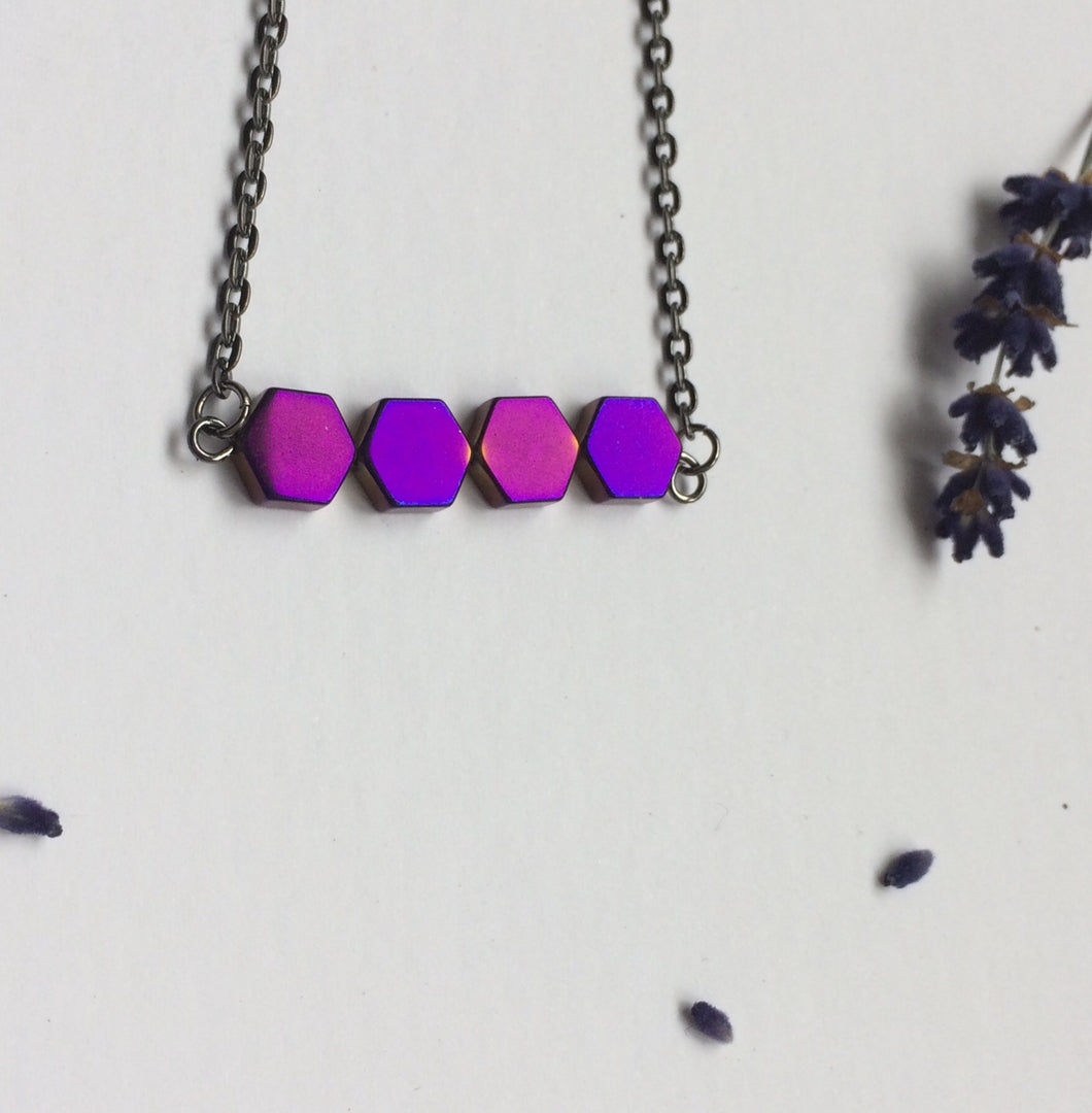 Purple Hexagon Hematites Necklace