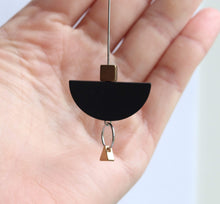 Long & Geometric Black II Boat Earrings