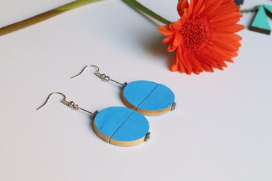 Blue Juxtaposed Drop Earrings