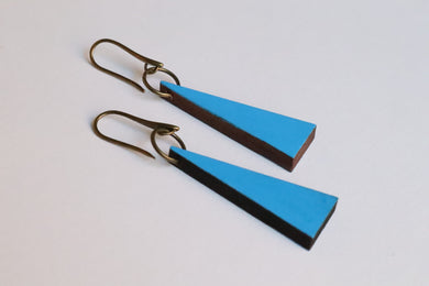 Blue Triangle Wood Earrings
