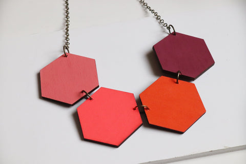 Colours and neon Pink Wood Hexagon Necklace Reversible