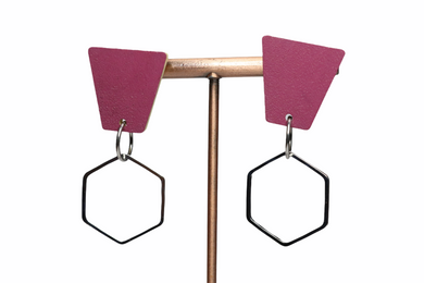 PLUM HEXAGON EARRINGS E210039
