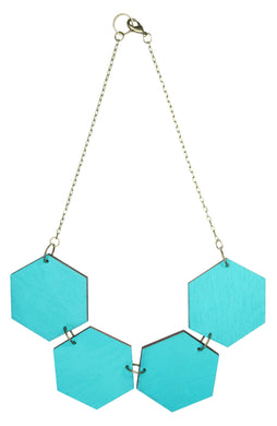 Big Hexagon Statement Necklace Blue Lagoon (Reversible)