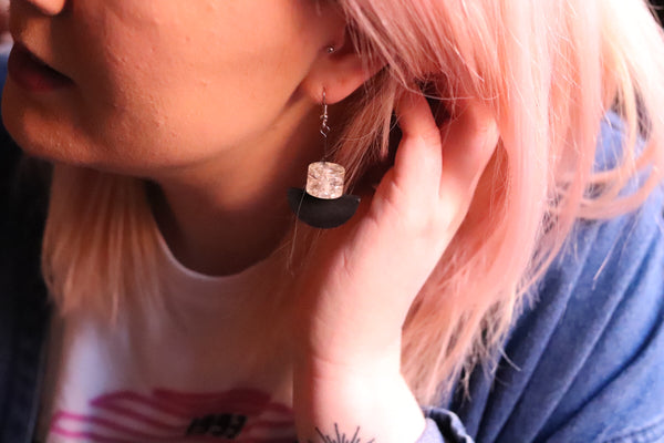 Geometric Earrings (Black & Clear White)