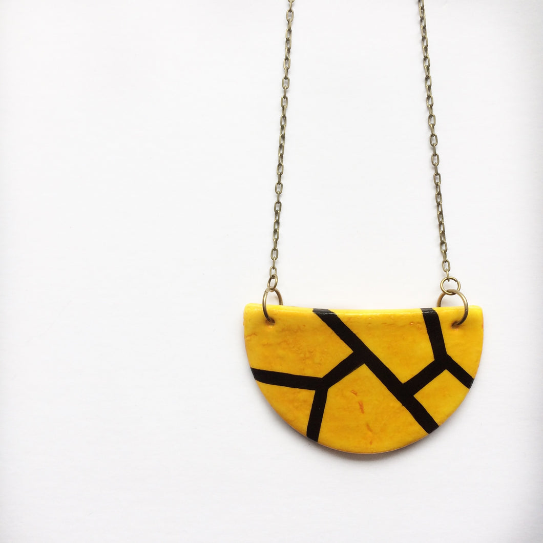 Yellow And Black Cold Porcelain Necklace
