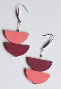 PURPLE PINK SEMI CIRCLE EARRINGS