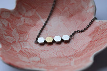 Silver and Golden Hexagon Hematites Necklace