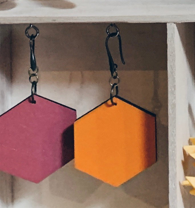 Hexagon Earrings Double Colour