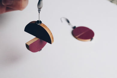 Plum Juxtaposed Drop Earrings