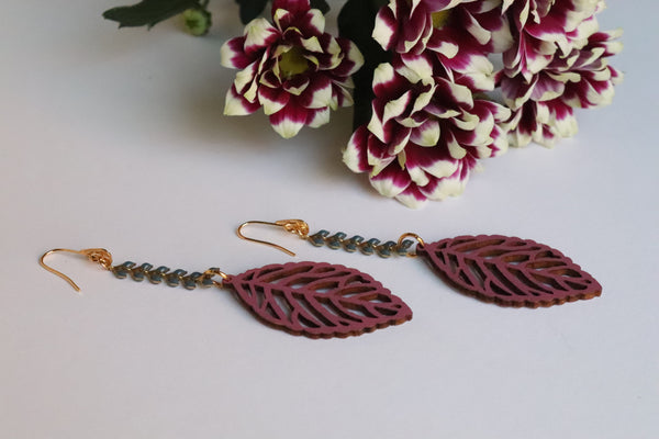 PURPLE LEAVES DROP EARRINGS