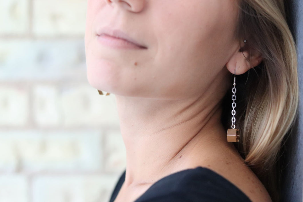 Chain & Hexagon Geometric Long Earrings