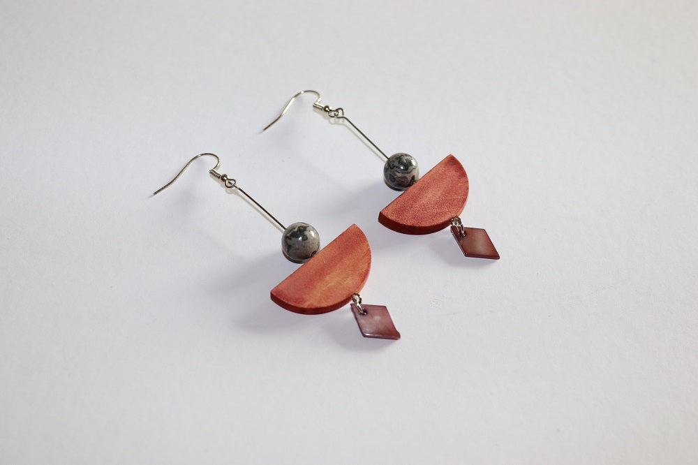 Stone Wood Seashell Earrings