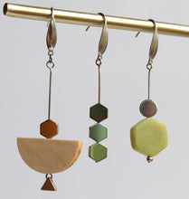 Metal, Stone, Wood Earrings