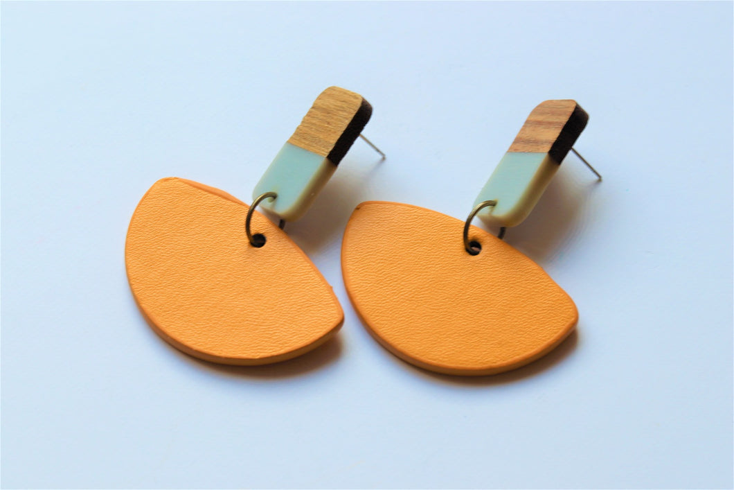 Grey & Yellow Fan Dangle Earrings